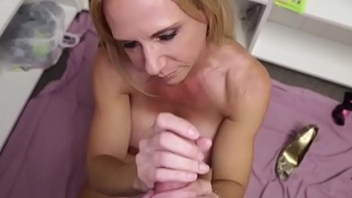 Tanlined cougar jerking dudes cock in POV