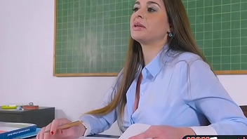 Busty bus fucks female student in class with a strapon