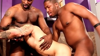 Ebony hunk peeing up ahead interracial sex