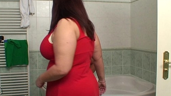 Obese huge boobs motherinlaw riding in bathroom