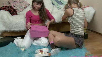 Magic wand on tiny teen pussy lesbian licking kissing &amp_fucking the wet teen cunt