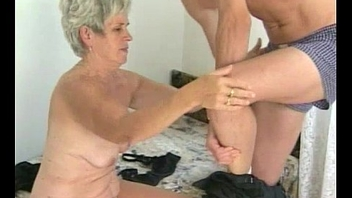 Hairy granny tastes young load of shit