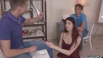 Penniless boyfriend allows naughty buddy to nail his gf for money