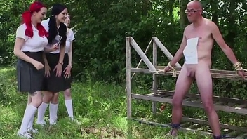 Mean cfnm schoolgirl humiliating tiedup dude