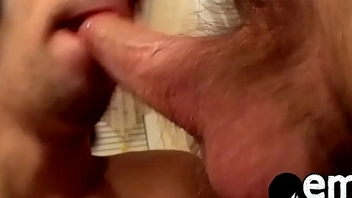 Cute emo twink blowing this dudes cock and gets jizzed