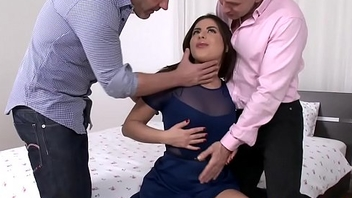 Facialized babe fucked hard in threeway