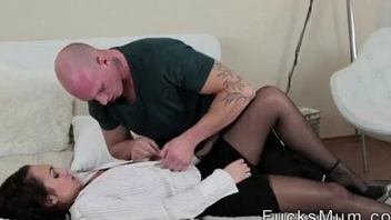 Stepmom seduced stepson and fucked hard when dads out